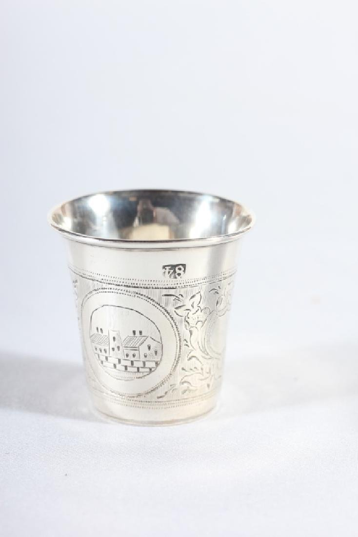 Three Antique Russian Silver Chased Cups - 4