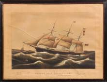 N. Currier Hand Colored Engraving of Clipper Ship