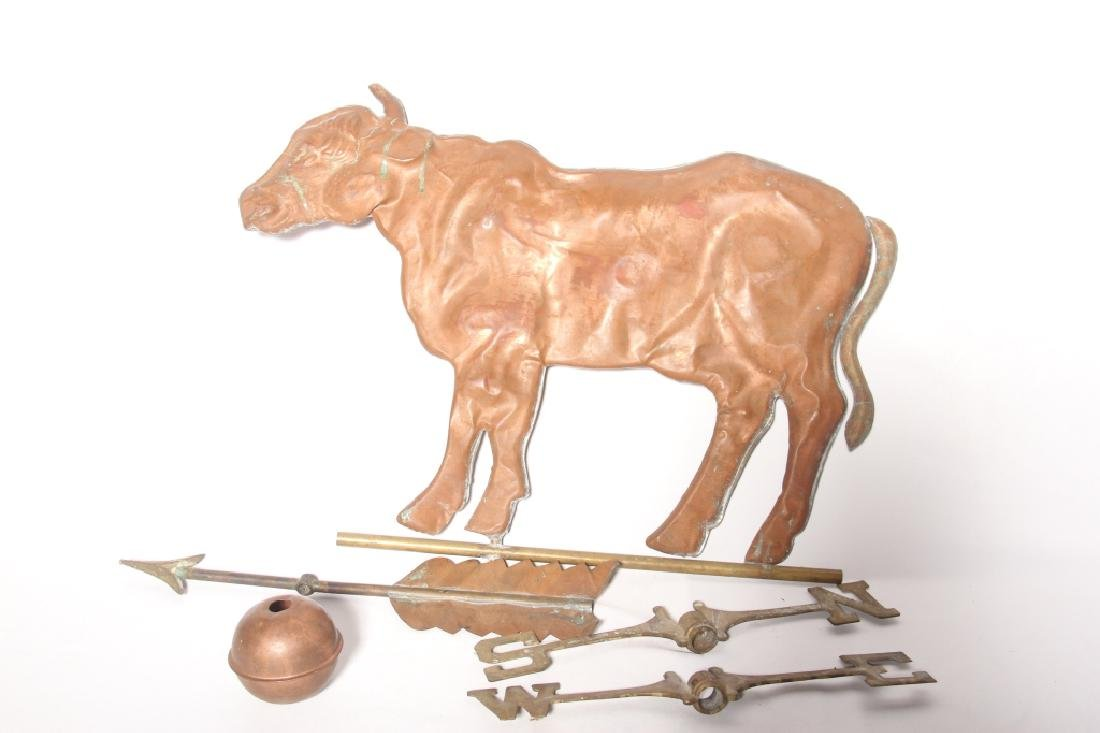 Antique Copper Cow Form Weathervane
