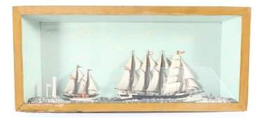 Antique American Folk Art Ship Shadow Box Diorama