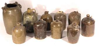 Collection Ten Southern Stoneware Vessels