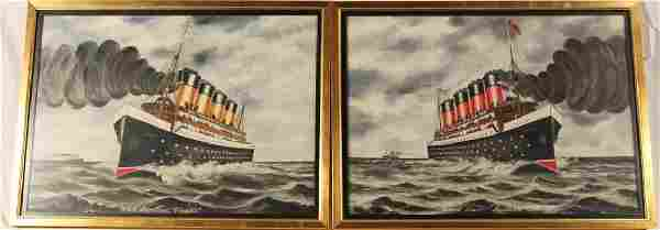 Two American Folk Art School Ship Portraits