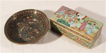 Chinese Rose Medallion Box  Cloisonne Bowl