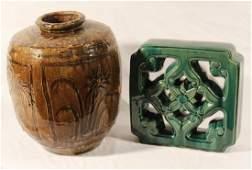 Two Antique & Vintage Oriental Stoneware Articles