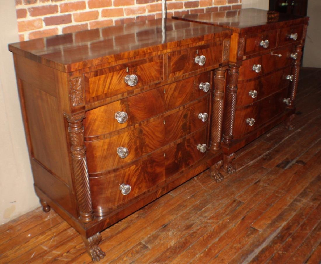 Pair American Classical Carved Mahogany Chests