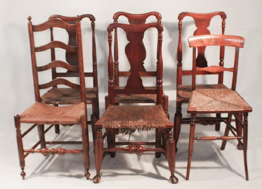 Collection Six Antique American Side Chairs