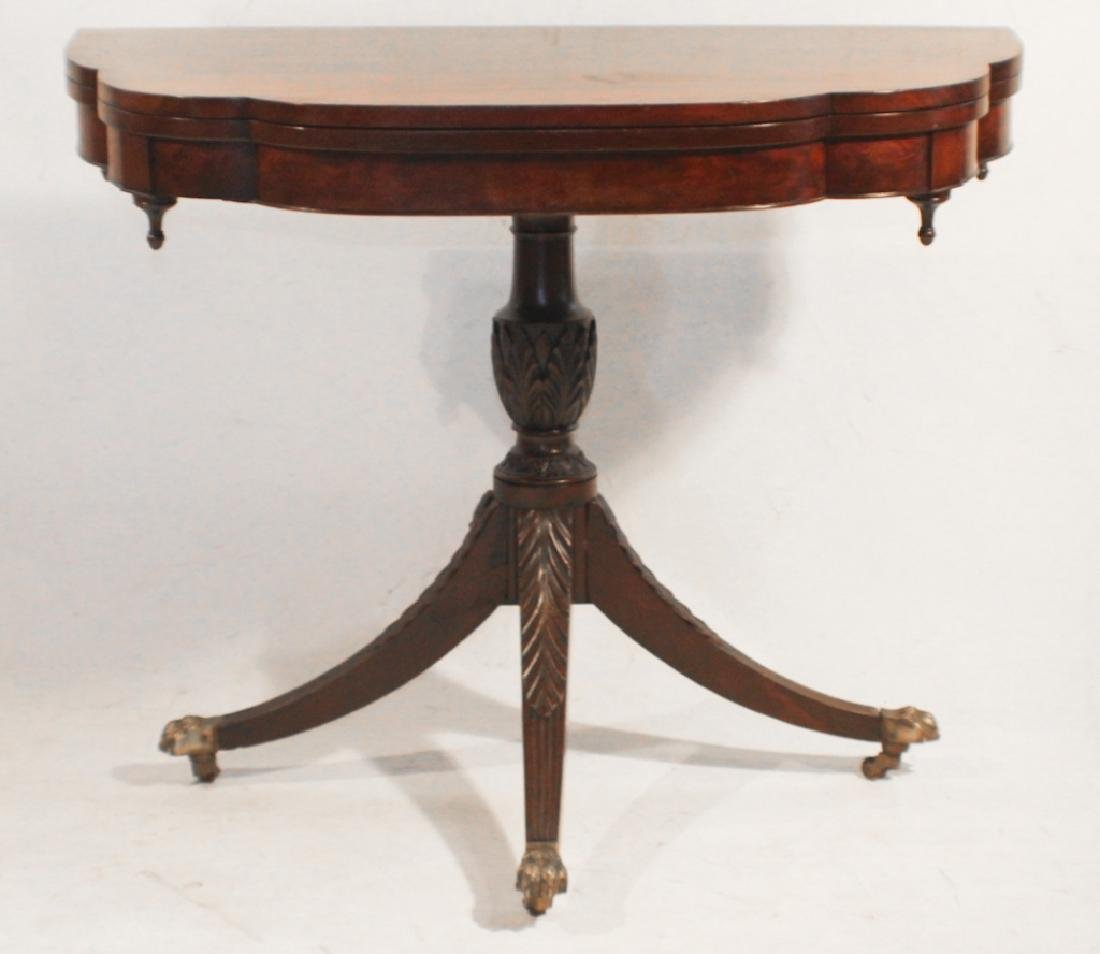 American Federal Carved Mahogany Games Table