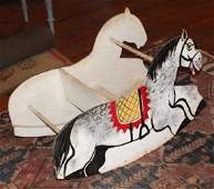 Antique Toy Childs Painted Wood Rocking Horse