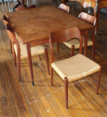 Remarkable Danish Modern Teak Wood Dining Table Chairs Download Free Architecture Designs Grimeyleaguecom