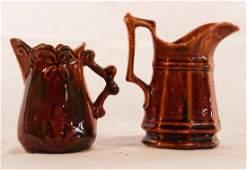 Two Antique Bennington Stoneware Cream Pitchers