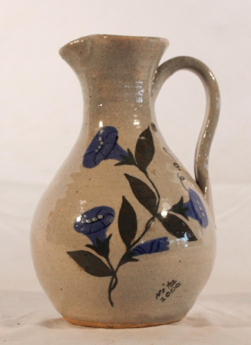 Stoneware Decorated Pitcher by Anita Meaders