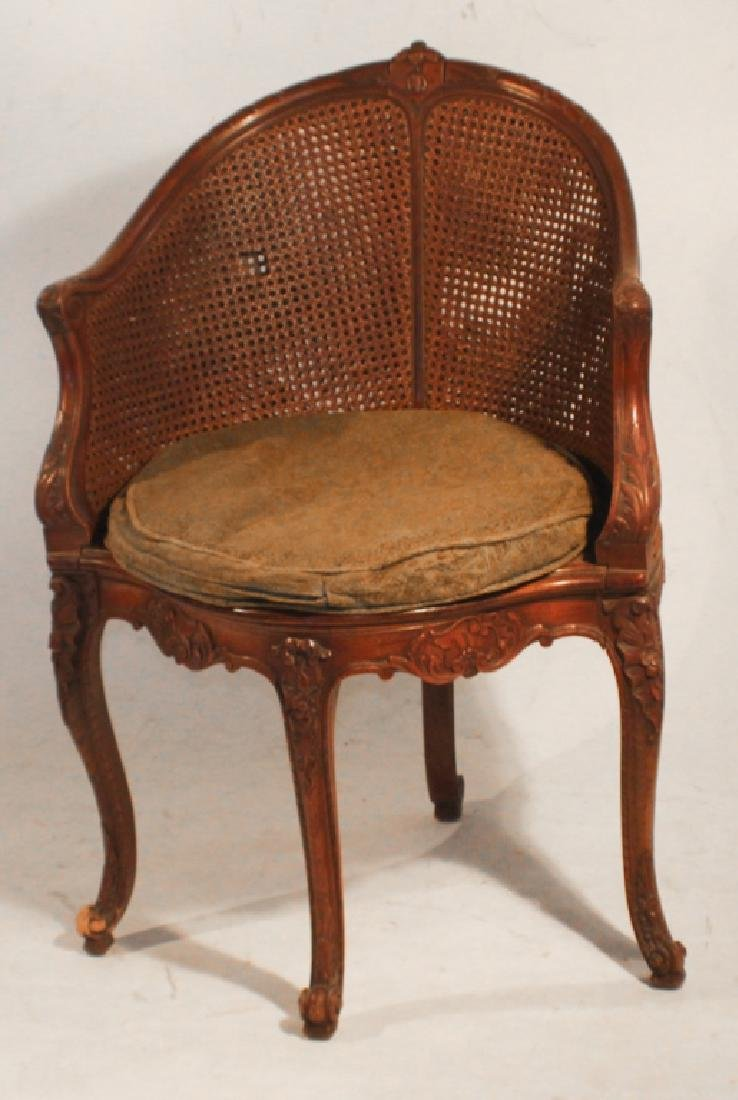 French Carved Walnut Corner Chair
