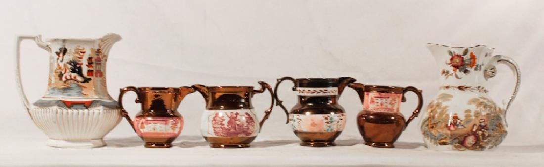 Collection Antique English Earthenware Pitchers