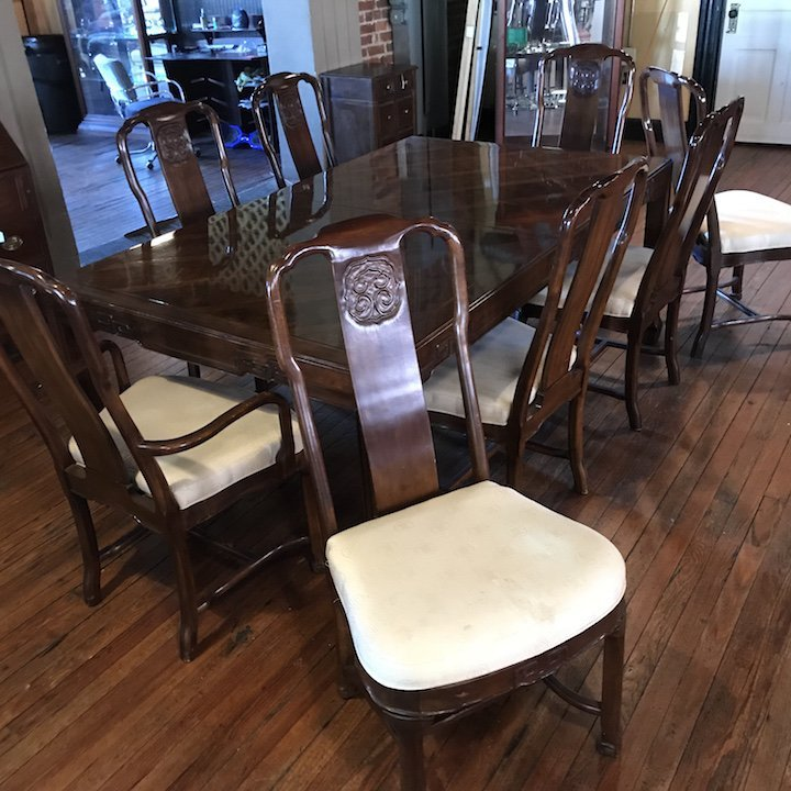 Mid Century Asian Style Dining Table and Chairs Drexel