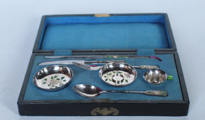 Antique Chinese Export Silver & Enamel Tea Set