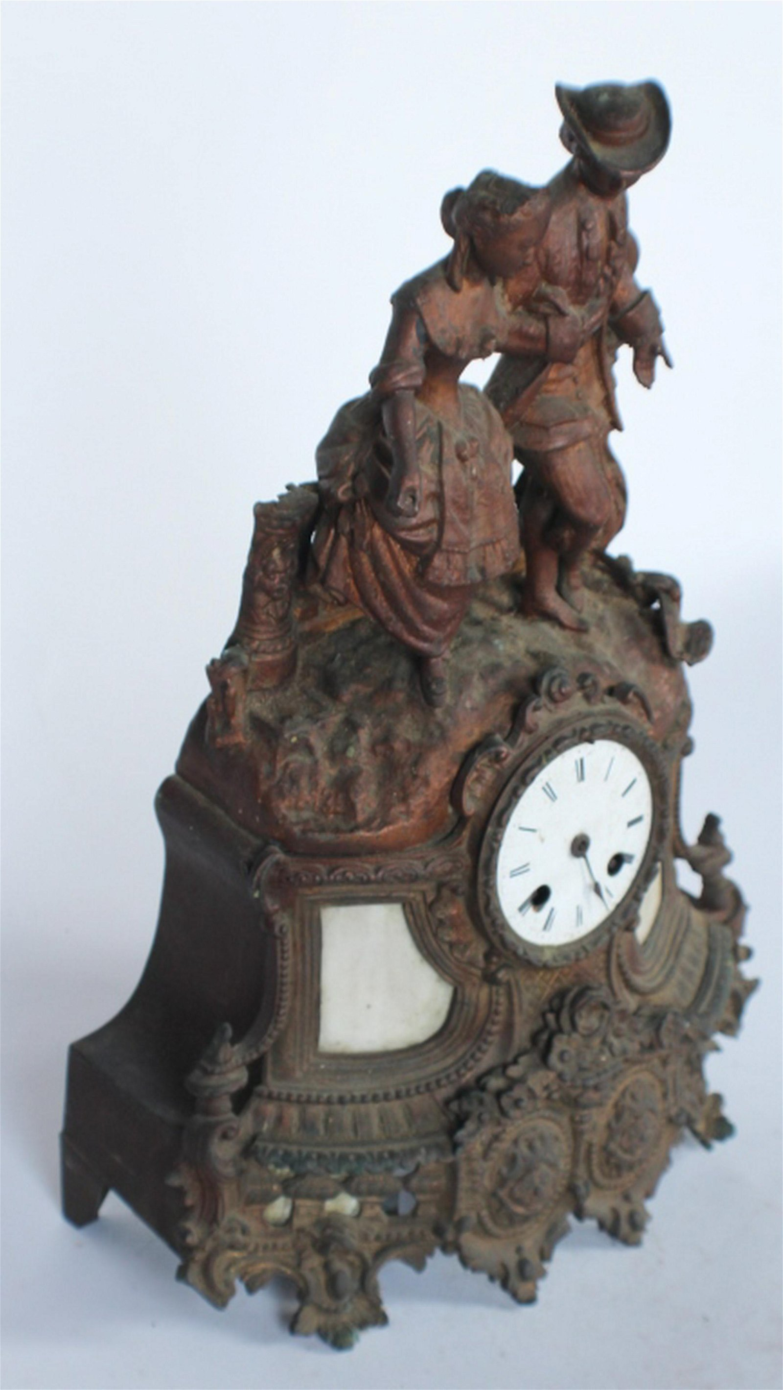 Antique French Spelter Mantel Clock