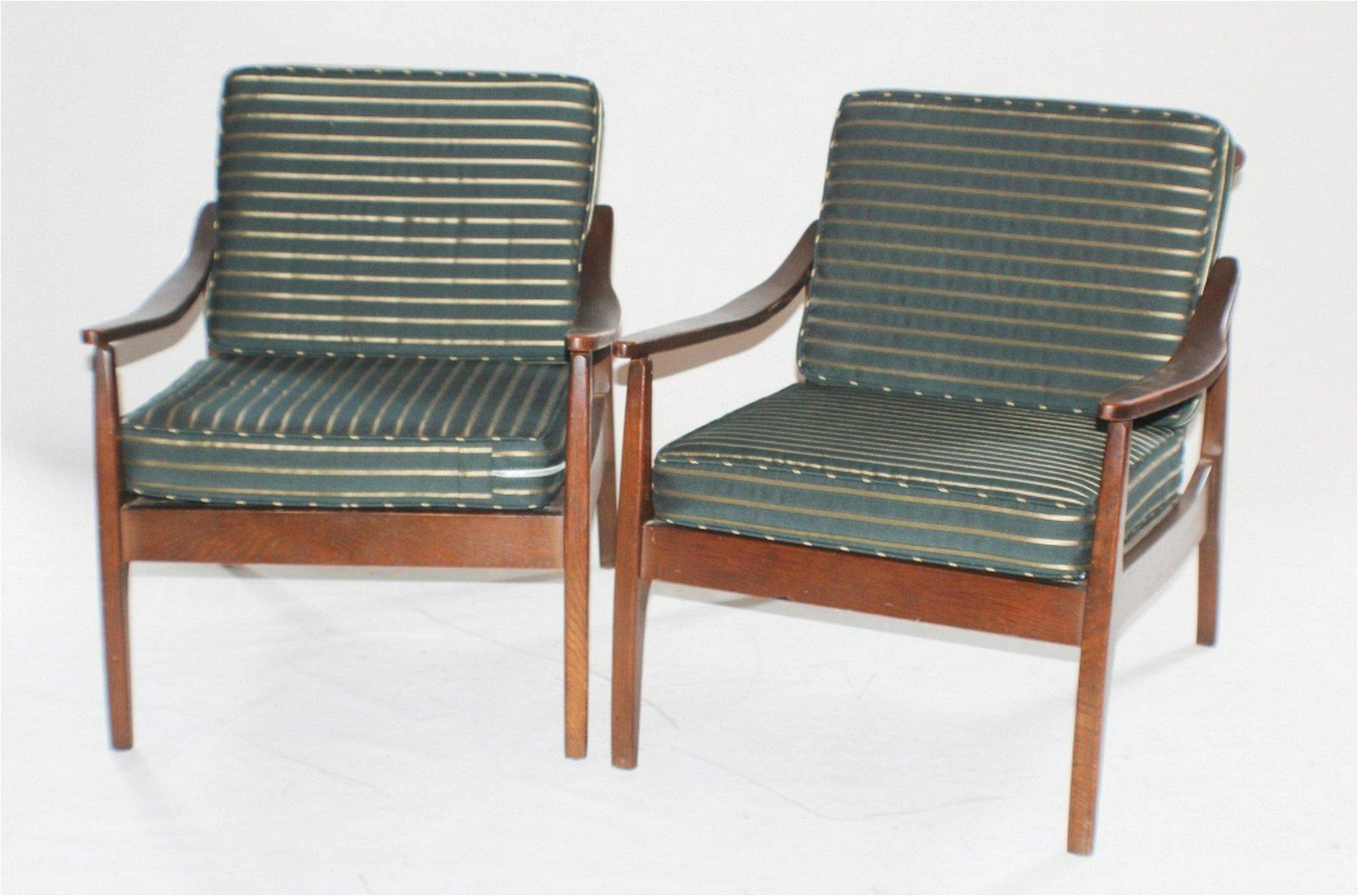 Pair Danish Modern Teak Wood Arm Chairs