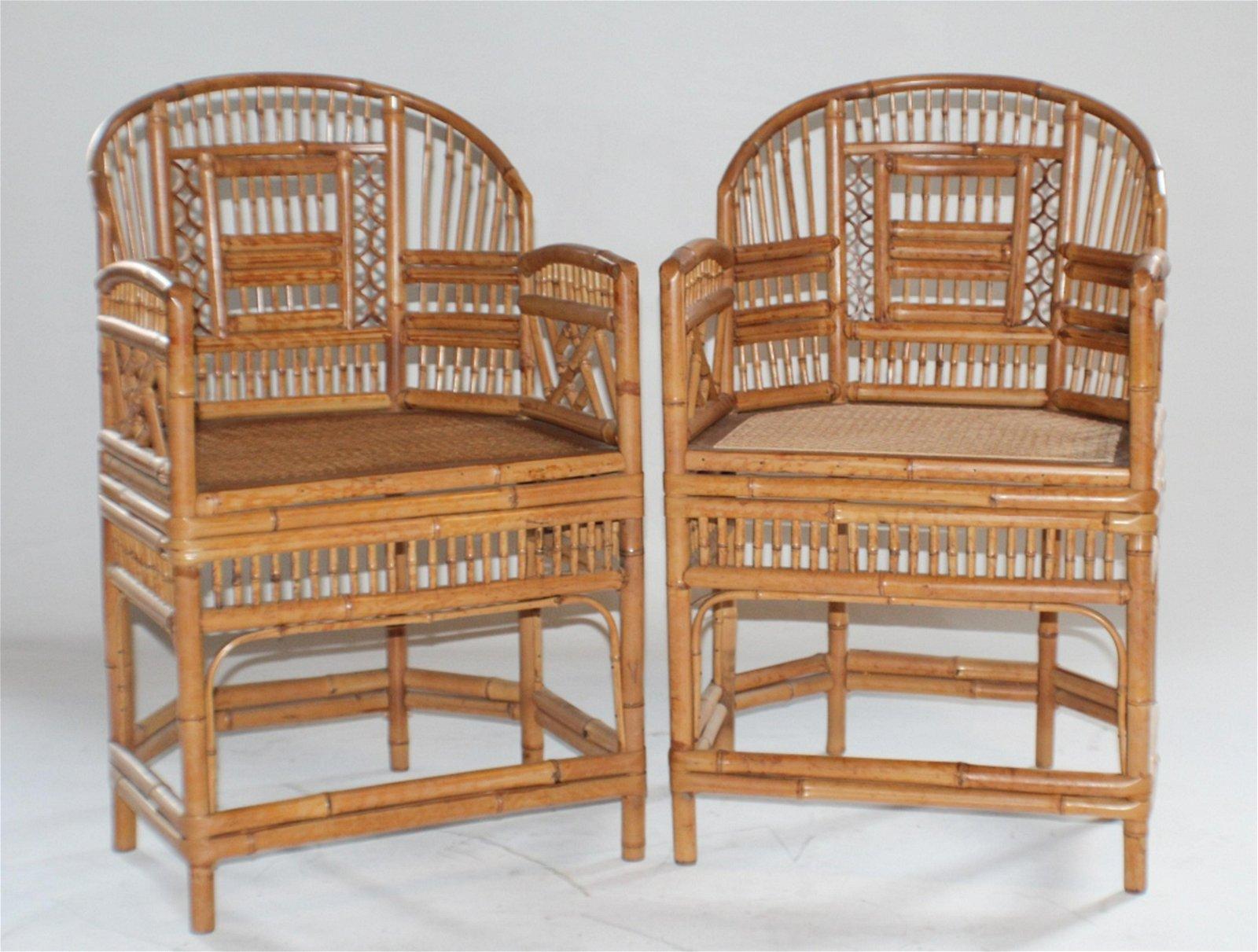 Good Pair Deco Bamboo Arm Chairs