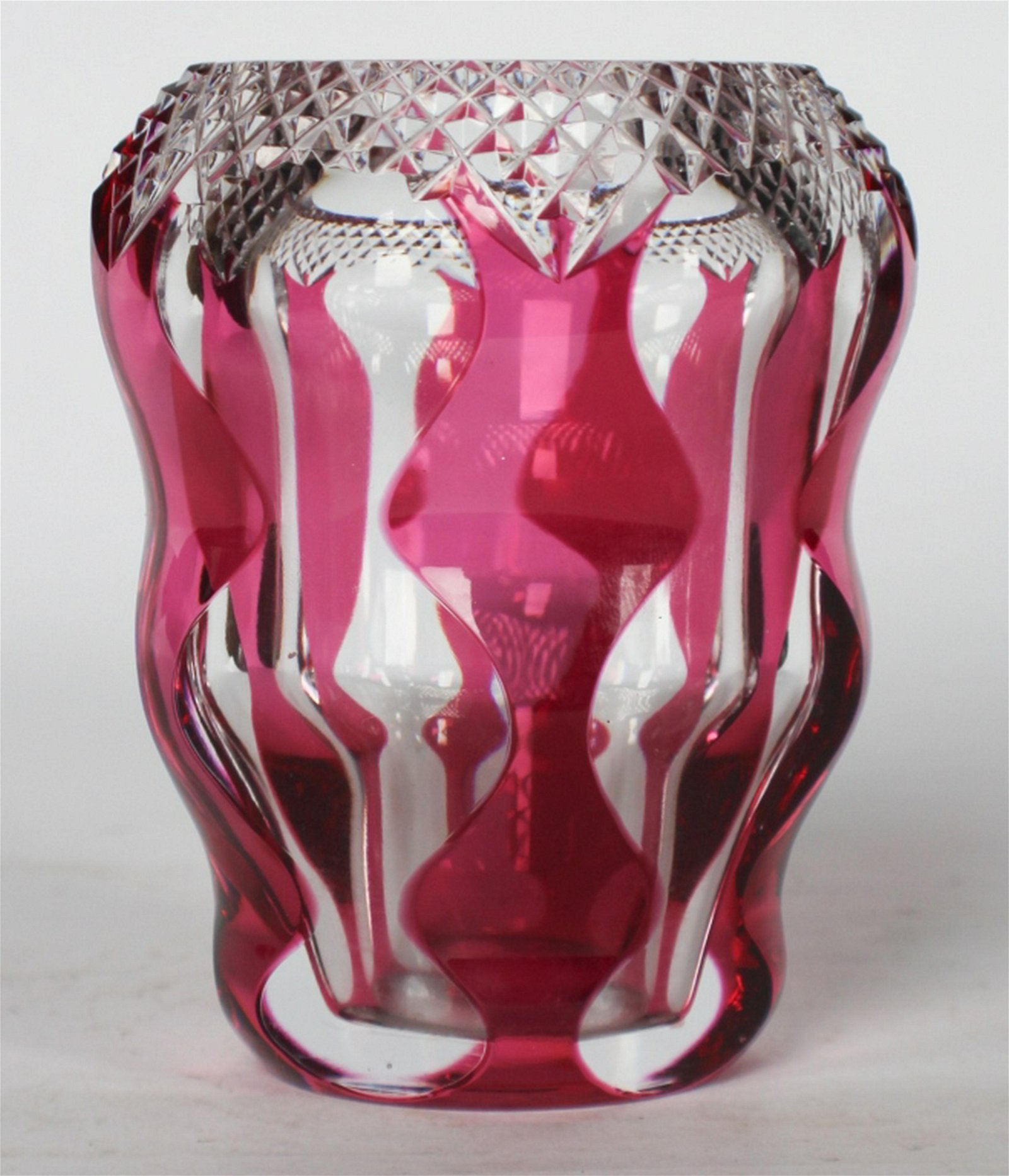 Mid Century Cut Glass Vase by Val Saint Lambert
