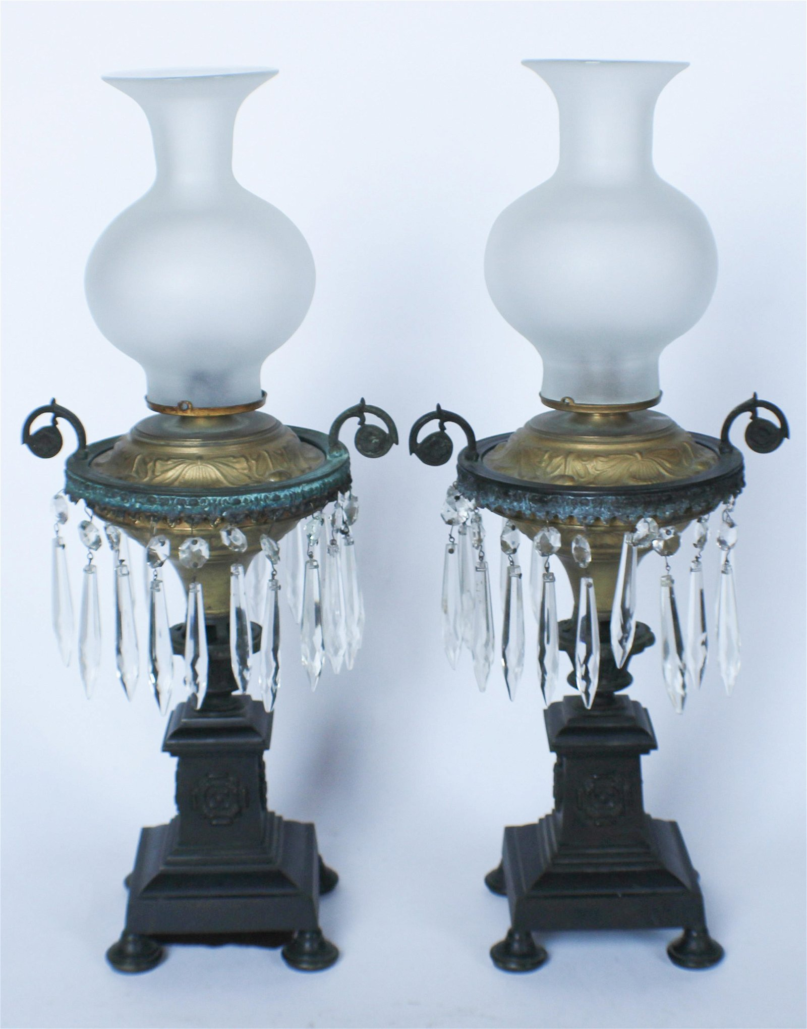 Pair Antique Neoclassical Bronze & Crystal Lamps