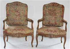 Pair French Carved Walnut Open Arm Chairs