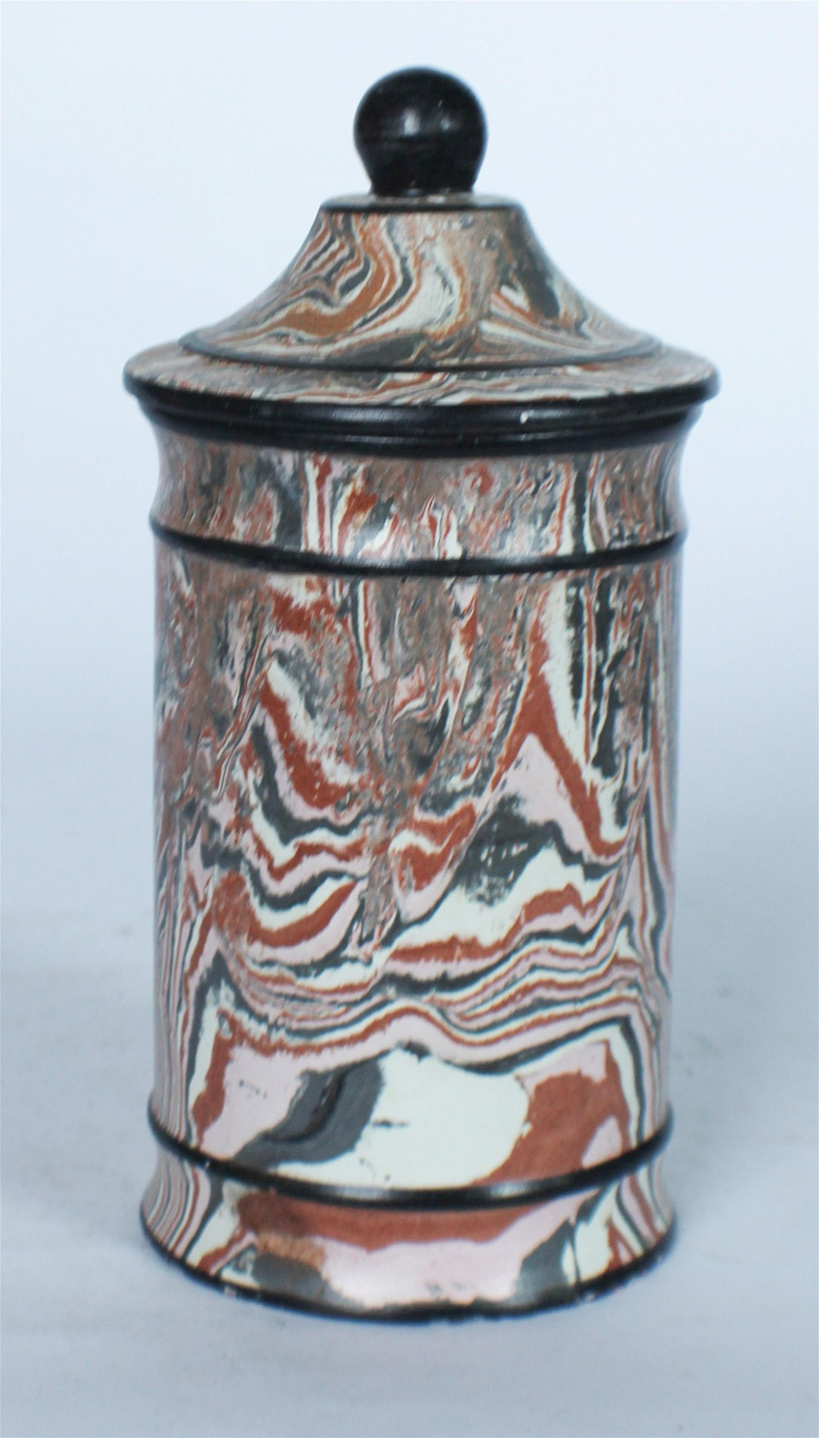 Antique English Agate Ware Lidded Pottery Jar