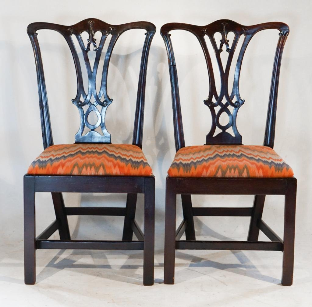Pair George III Chippendale Mahogany Side Chairs