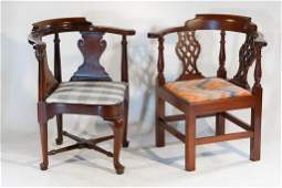 Two Vintage Hepplewhite Style Corner Chairs