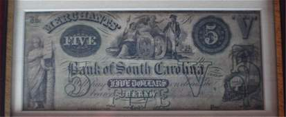 Antique Cheraw District SC 5 Bank Note