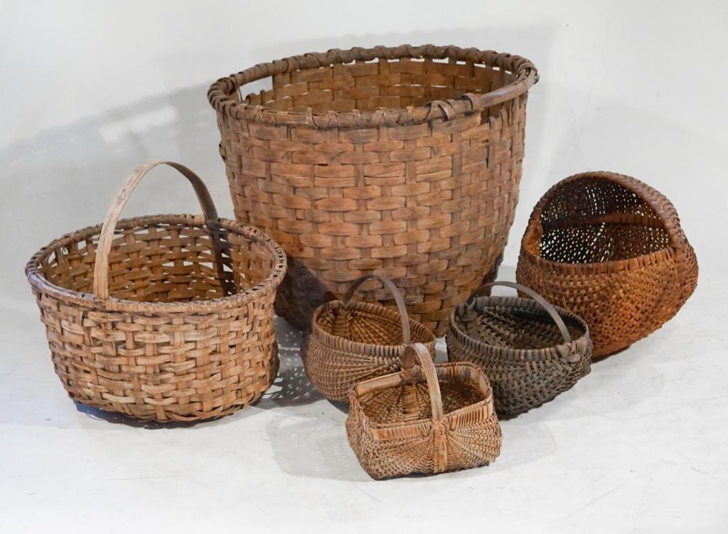 Collection Antique American Split Wood Baskets