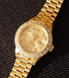 18k Gold & Diamond Ladies Rolex President Watch