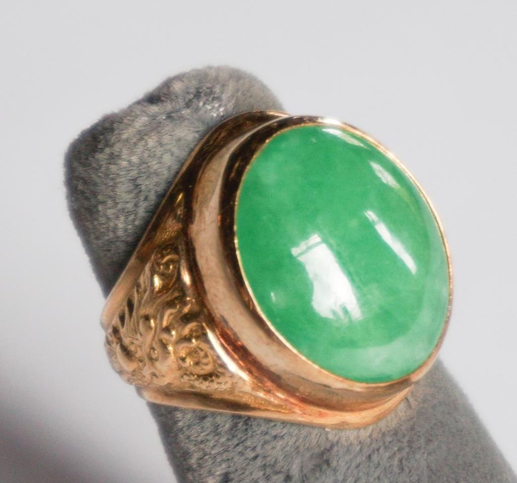 Fine Chinese Gold & Jade Deco Ring