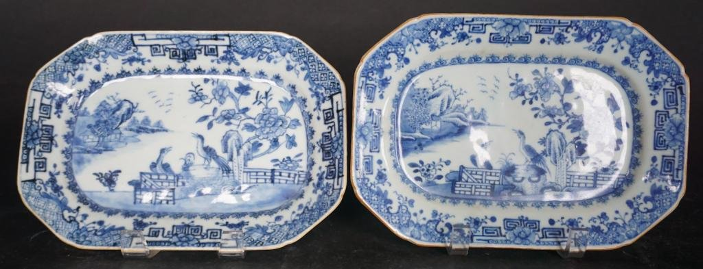 Pair Chinese Export Canton Porcelain Platters