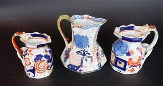 Antique English Mason Ironstone Pottery Pitchers