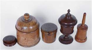Collection Antique Turned Wood Treen Ware Pieces