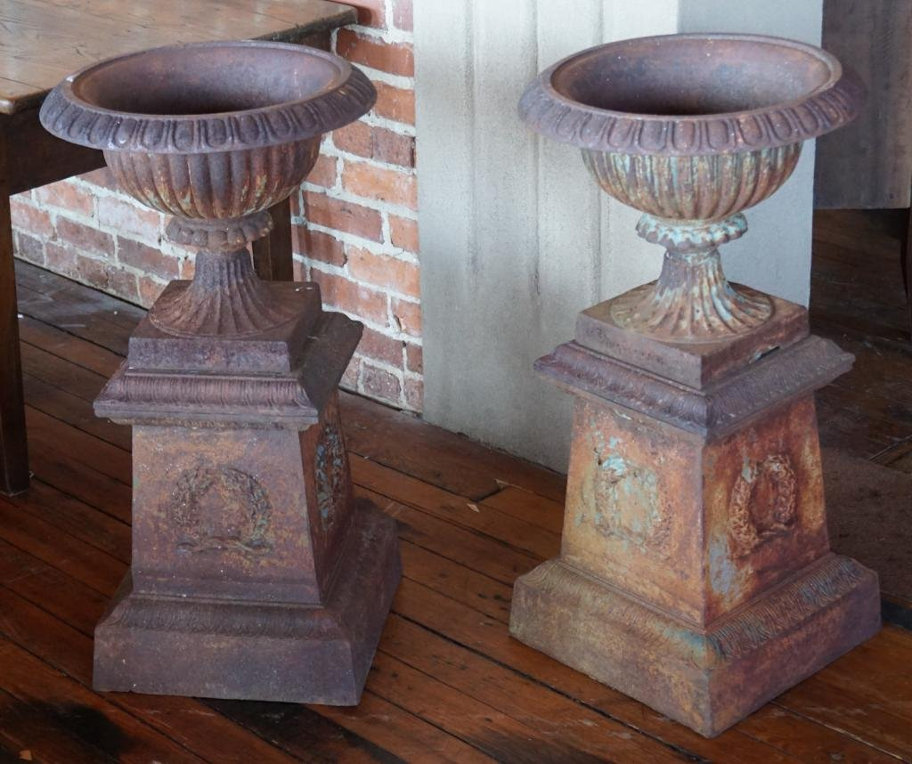 Quality Pair Antique Cast Iron Garden Urns