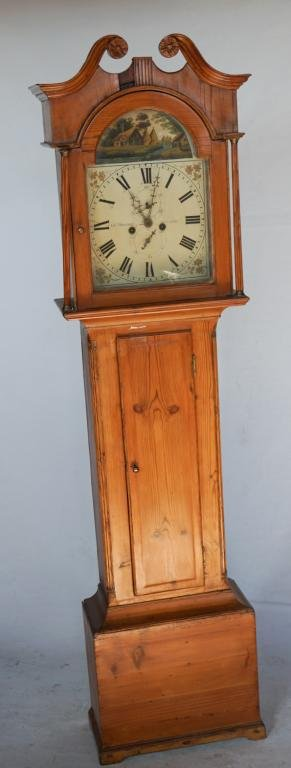 British George III Pine Tall Case Clock