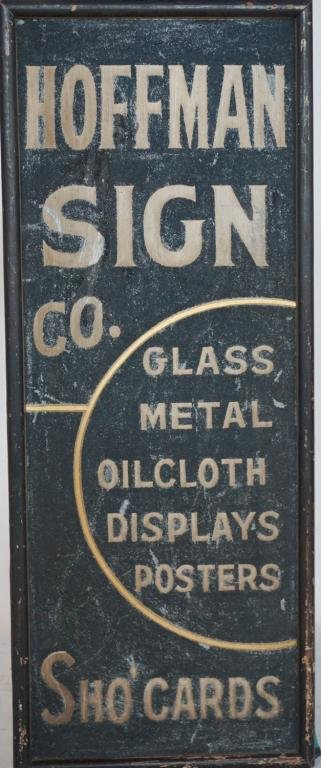 Vintage Hand Painted Advertising Sign on Metal