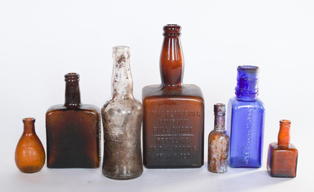 Collection Antique Glass Bottles