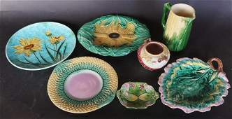 Collection Antique Majolica Pottery Articles