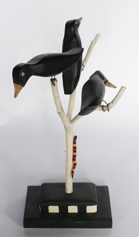 Southern Folk Art Carved & Painted Bird Tree