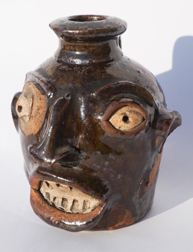 Southern Stoneware Figural Slave Made Face Vessel