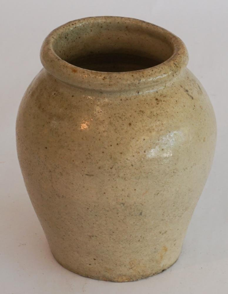 Early Southern Stoneware Slave Made Preserve Jar