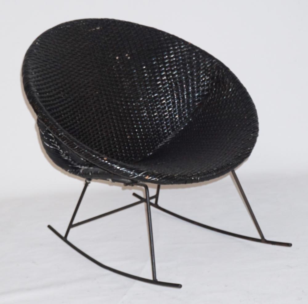Mid-Century Deco Caine & Metal Rocking Chair