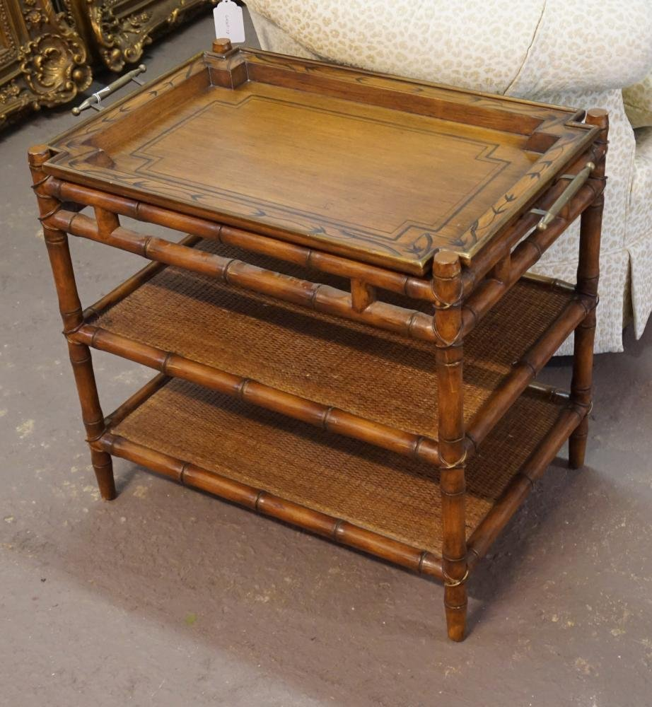 Deco Bamboo & Cane Woven Tea Tray on Stand