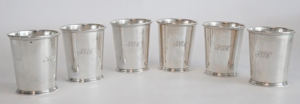 Set Six Samuel Kirk & Son Sterling Mint Julep Cups