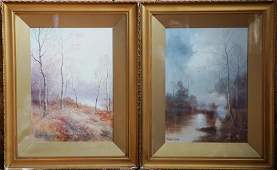 Two American School Pastel Landscapes