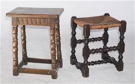 Two Antique English Turned Wood Stools