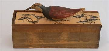 Vintage Shore Bird Decoy by Lenny Baker with Box