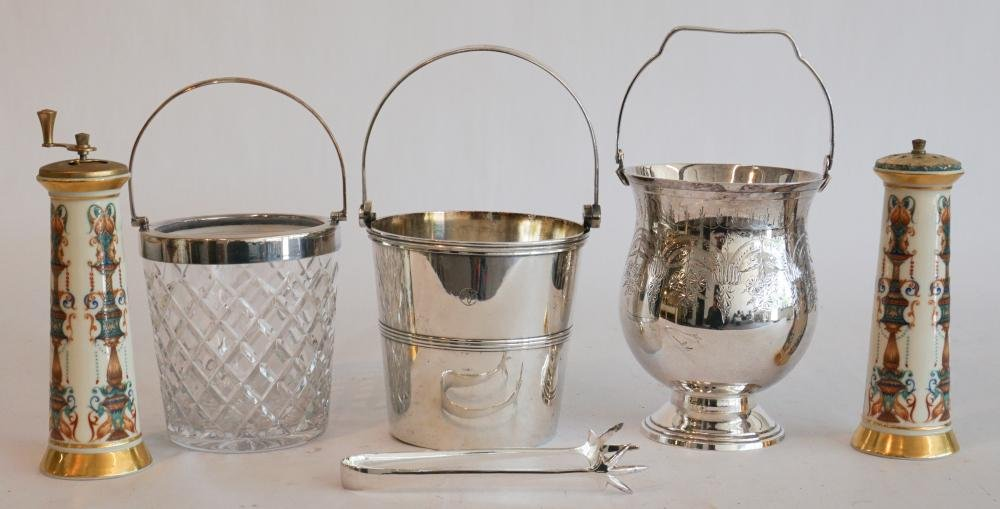 Three Silver Plate & Cut Crystal Ice Buckets